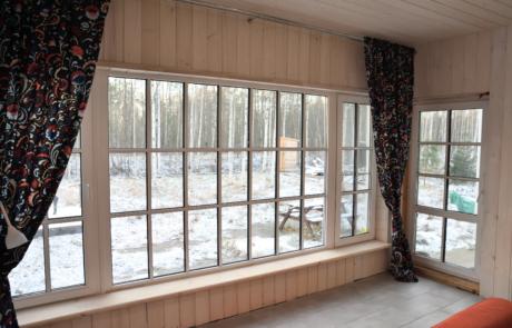 Панорамное остекление ПВХ окно с фальш накладками